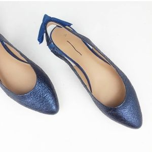 Anthropologie | Slingback Bow Leather Flats Blue